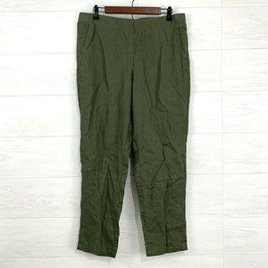 J Jill Love Linen Moss Green Elastic Waist Pants